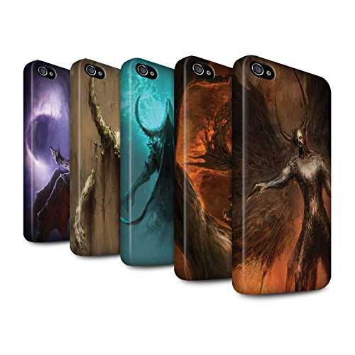Offiziell Chris Cold Hülle / Matte Snap-On Case für Apple iPhone 4/4S / Pack 10pcs Muster / Dunkle Kunst Dämon Kollektion Pack 10pcs