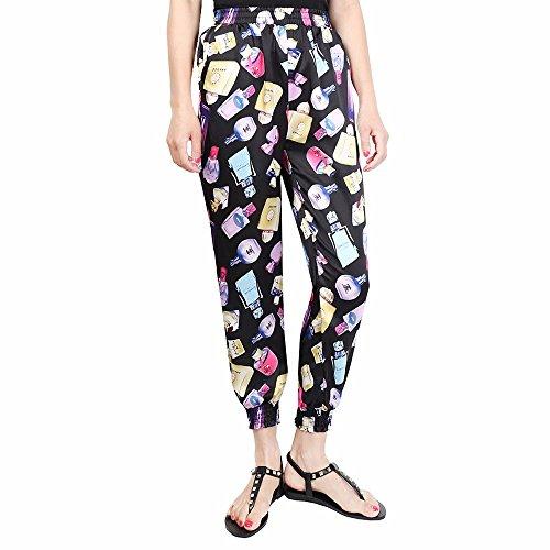 LooBoo Damen Haremshose mit gesmoktem Bund gedruckt Aladin Rose Bunt Boho Hosen Multicoloured 6