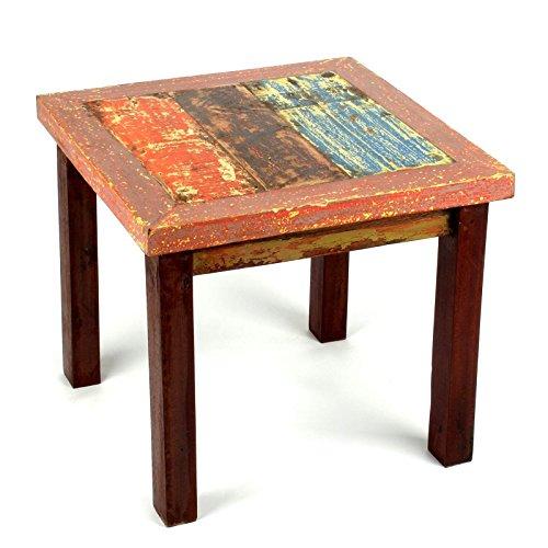 Wuona Objects kleiner Tisch 50 cm - Beistelltisch altes Teak Bootsholz, massiv, verschiedene Farben, Handarbeit Bali