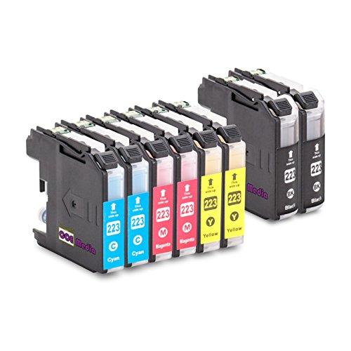 Preisvergleich Produktbild 8er Set - kompatible Tintenpatronen zu BROTHER LC223 | 2x BK mit 20ml & 2x C/M/Y mit je 10ml Inhalt | geeignet für Brother DCP-J4120DW MFC-Ink, MFC-J4420DW 4-in1, MFC-J4620DW 4-in-1, MFC-J4625DW, MFC-J4425DW Brother DCP-J 4120 DW, MFC-J 4420 DW, MFC-J 4425 DW, MFC-J 4620 DW, MFC-J4625 DW