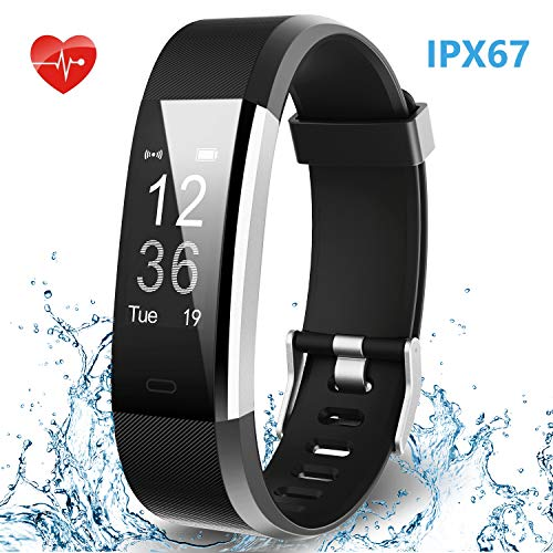 HolyHigh Smart Fitness Band 115Plus Tracker Watch with Heart Rate Monitor Sport Activity Band with Step Counter Sleep Call SMS Notifications for Men Women (Black)