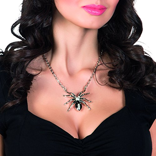 Halloween Kette Spinne Gothic Halskette mit Anhänger silber Spinnenkette schwarze Witwe Tarantula - Schwarze Für Kostüm Witwe Erwachsene