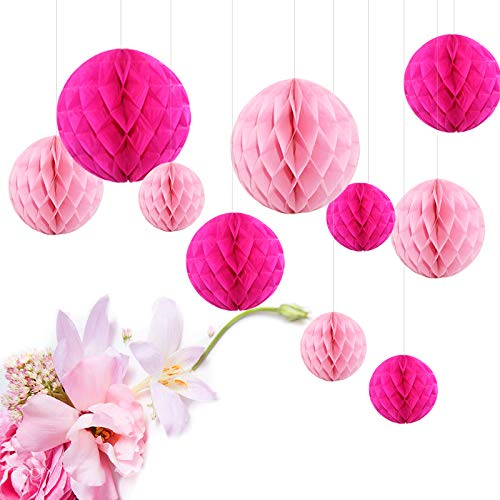 Feelshion, pompon in carta da appendere, fiori di carta, decorazione per  compleanno di bambini o teenager, matrimonio, baby shower
