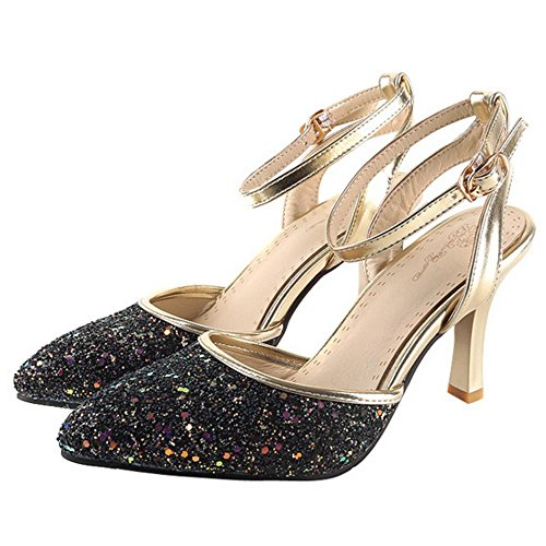 COOLCEPT Damen Stiletto Heels Geschlossene Sandalen Charm Glitter Wedding Party Shoes Schwarz