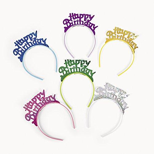 cama24com Happy Birthday Tiara mit Kunststoff-Haarreif für Geburtstagsparty 6 Stück Palandi® (Tiara Erwachsene Happy Birthday)