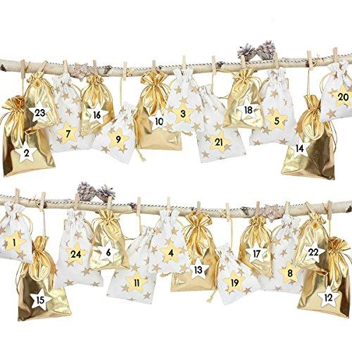 LD Noël Décoration 24 Calendrier de l'Avent plastique Sachet à remplir - avec fil bäker et pinces (Délai de livraison est 3-7 jours)