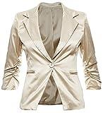 Eleganter Damenblazer Blazer Baumwolle Jäckchen Business Freizeit Party Jacke in 26 Farben 34 36 38 40 42, Farbe:Beige Metallic;Größe:L-38