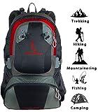 MOUNTAINBOCK 40 Liter Wanderrucksack in Schwarz Rot | Wasserdichtes Nylon mit extra Regenschutzhülle | Unisex Rucksack | ideal für Camping Trekking | Sport & Outdoor Tagesrucksack | Edition 2018