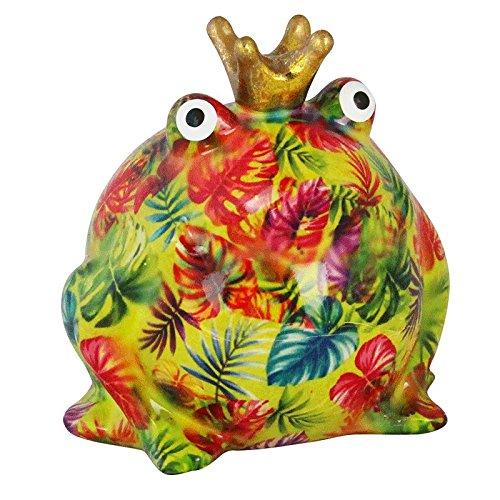 Pomme Pidou Tirelire King Frog Freddy | Tirelire Grenouille Originale en Céramique | Vert avec des Feuilles Tropicales | Cadeau Unique avec Boîte-Cadeau Gratuite | Fait à Main avec Amour