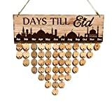 Fafalloagrron 1 Set Eid Mubarak Natürliches Holz Countdown Board Countdown Kalender Muslim Ramadan Islam Notizblock Erinnerungskarte Wand Dekoration Home Decor Festival 50 Stück Brett + 50 Stück Ring
