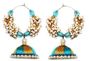 Yathnics Multi-colour Silk Thread Jhumki Earring with Crystals and white Pearls for Women - Silk thread earrings From Yathnics Brand