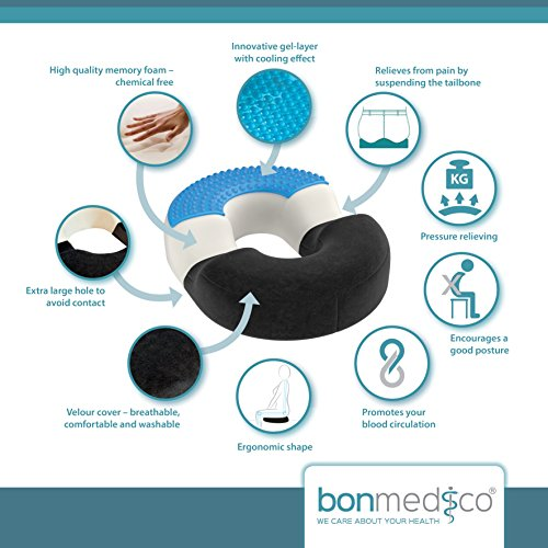 bonmedico® orthopaedic surgical ring / donut pillow with innovative gel cushion for relief of haemorrhoids (piles) and coccyx pain and discomfort, suitable for wheelchair, car seat, home, office or travel, in black