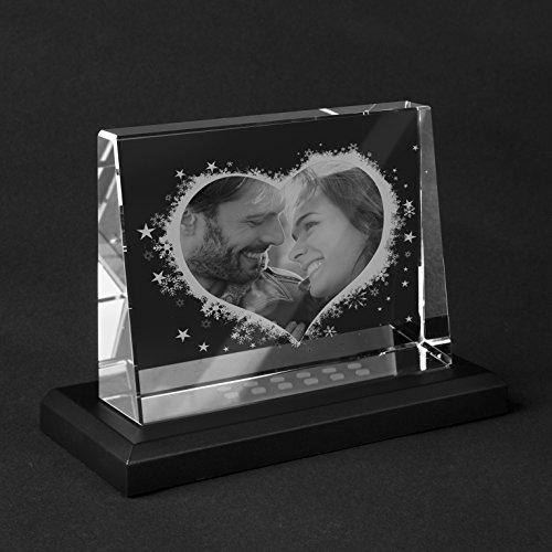 Personello® Glasfoto mit LED, Herz Collage, Dein Foto Glas graviert, Größe L=140x105x38mm, beleuchtet mit Leuchtsockel