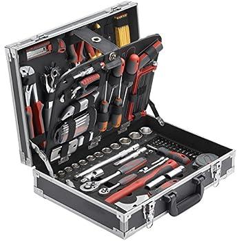 Meister Werkzeugkoffer 129-teilig ✓ Stabiler Alu-Koffer ✓ Werkzeug-Set ✓ Für Haushalt, Garage & Werkstatt | Profi Werkzeugkoffer befüllt | Werkzeugkiste | Werkzeugbox komplett mit Werkzeug | 8971410