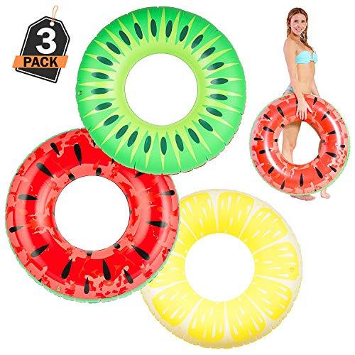 ufblasbare Pool Schwimmringe in sommerlichen Frucht-Designs, Kiwi, Zitrone und Wassermelone, 90 cm, mit der langlebigen Aufbewahrungstasche ()