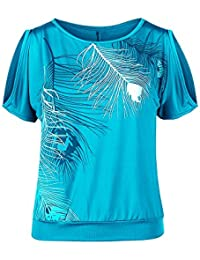 6d99f282a347 Youthny Femme T-Shirt Col Rond Épaules Dénudées Manches Courtes Imprimé  Plume Taille Lâche