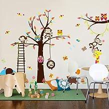Rainbow Fox búho y el mono ardilla jirafa que juega en Tatuajes de pared colorido del árbol etiqueta de la pared