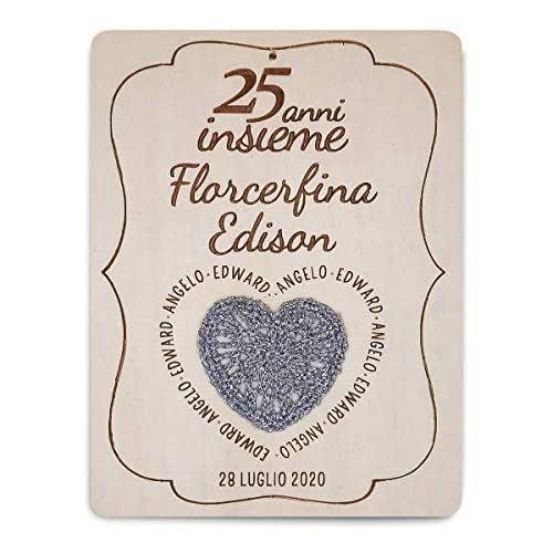 Crociedelizie, Idea regalo nozze d'argento 25 anni matrimonio venticinquesimo anniversario targa personalizzata sposi