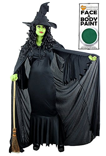 Glinda Gute Hexe Kostüm - Green Witch Kostüm + Uni Schwarz Umhang mit Kapuze + Hexen schwarz hat + Grün Face Farbe, ideal für Halloween in den Größen XS-XXL