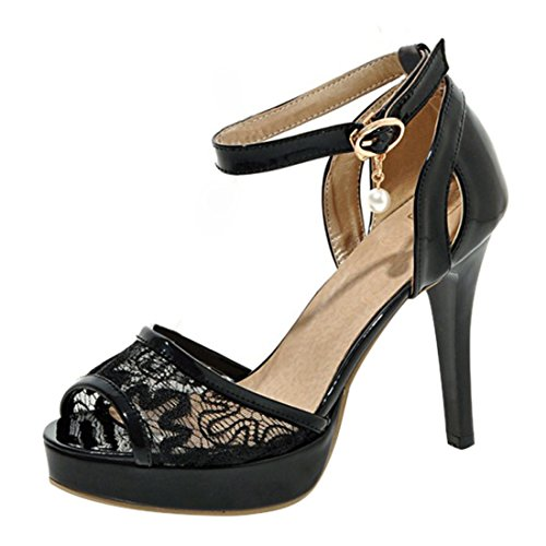 YE Damen Riemchen Lackleder Peep Toe Stiletto High Heel Plateau Sandalen mit Spitze und Schnalle Modern Schuhe Schwarz