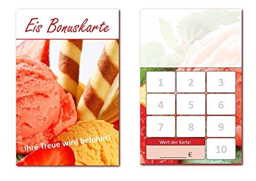 500 Stück Eis Bonuskarten (BOK-411) mit 10 Stempelfeldern. Treuekarten passend für Bereiche wie Eisdiele, Eiscafe, Eisverkauf