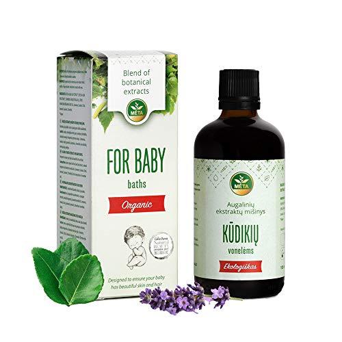 Bio Badeöl für Baby, Kinder - pflegendes Babyöl für Bad - Natürliche Kleinkinder & Babypflege mit Aromatherapie - ideal für empfindliche Babyhaut - bester vegan Badezusatz Geschenk für neue Mama
