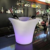 étanche en forme de feuille LED à changement de couleur batterie Nuit Seau à glace pour vin et champagne et bière, avec télécommande, idéal pour bar, Club, fête, mariage, et autres célébrations