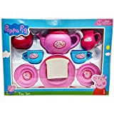 Peppa Pig Tea set packed in Box carry case for Children of age 3 to 8 years| Premium Quality | Certified Safe as per European Safety Standards (EN71) | Fun and Educational toys for Kids | Multi Color | Includes 1 Kettle, 2 Tea cups & Saucers, 1 Sugar Pot, 2 Spoons, 1 Toast on Plate, 1 serving Trey and 1 Milk Jar