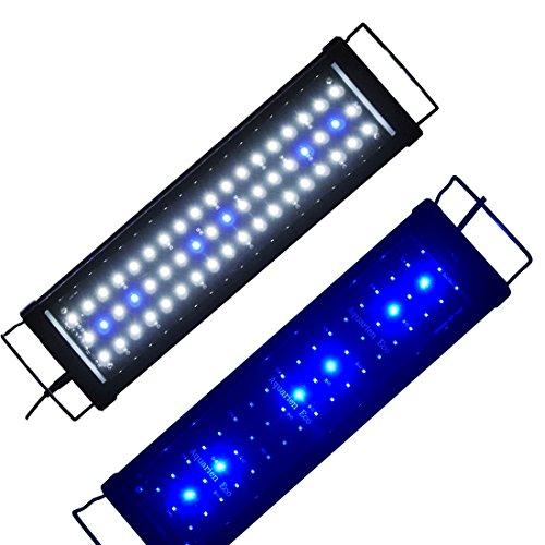 Lumiereholic Aquarien Eco Aquarium LED Beleuchtung Aufsetzleuchte Blau Weiß Aquairumlampe 45-60CM