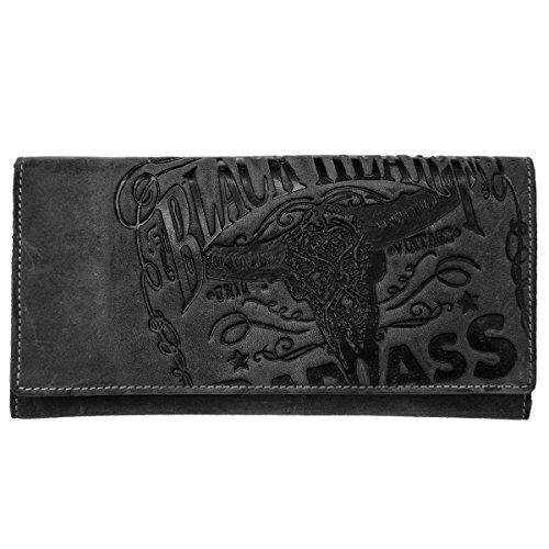 Skull Jack (Jack's Inn 54 Black Bourbon - Damenbörse Value in schwarzem Leder mit Prägedruck)