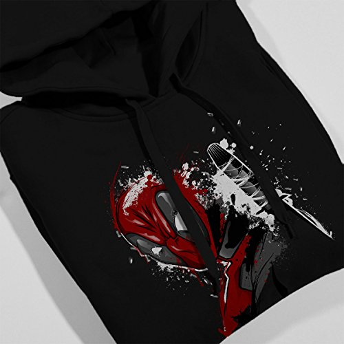 Deadpool Breaking The 4th Wall Women's Hooded Sweatshirt Black