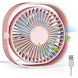 RATEL Ventilateur de table USB, 12,5 cm Mini ventilateur de bureau Utiliser avec un câble de 1,2 mètres, Portable et personnel pour la maison et le bureau Calme et puissant, Rose