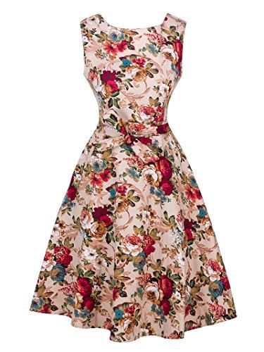 Femme 1950s Audrey Rockabilly Robe de Cocktail Rétro Imprimée Sans Manche Kaki