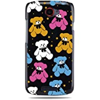 """GRÜV Premium Case - Design """"Süße Rosa & Blaue Teddybären"""" - Qualitativ Hochwertiger Druck Schwarze Hülle - für HTC One S Ville Z520e"""