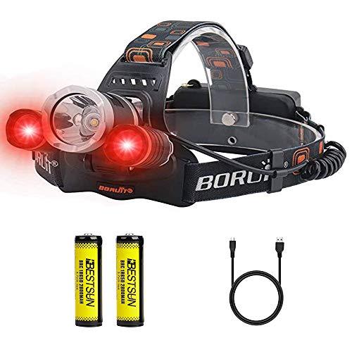 BESTSUN Linterna Frontal LED Recargable, con Luz Roja (1 Blanco + 2 Roja Luz) 3 Modos Potentes 5000 Lúmenes Linterna Cabeza, Bueno para Pescar, Caza, lectura