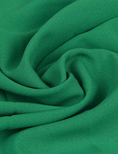 Shinkoo®Donne Manica Lunga Taglia Grossa Ricamo Chiffon Tops Caduta Camicia Green