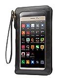 KISS GOLD(TM) Universal Touchscreen Handy Tasche Hülle PU Leder Handtasche Schultertasche für iPhone 6s / Galaxy S7 / S7 Edge / Huawei P8 / P9, Smartphone bis zu 6.3 Zoll, Schwarz