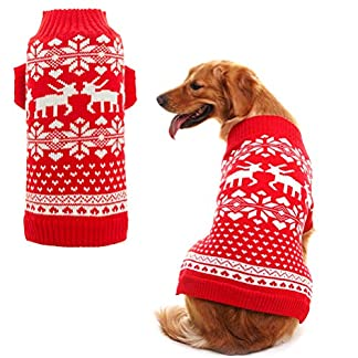bingpet classic dog jumpers red pet sweater with cute reindeer for puppy medium BINGPET Classic Dog Jumpers Red Pet Sweater with Cute Reindeer for Puppy Medium 51Mtd1PHilL