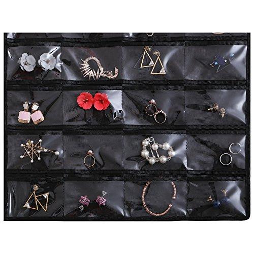 Ezigoo Großer, Doppelseitiger Schmuckhalter Aufbewahrung Schwarz – Ringhalter, Ohrring display - 7