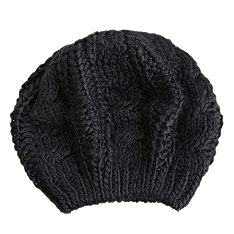 Beret Femme Noir - Hrph Béret Tressé Crochet Chapeau Bonnet Ski