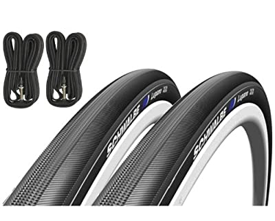 Schwalbe Lugano 700c x 23 Road Racing Bike Tyres (Pair) & Presta Inner Tubes - Black from Schwalbe