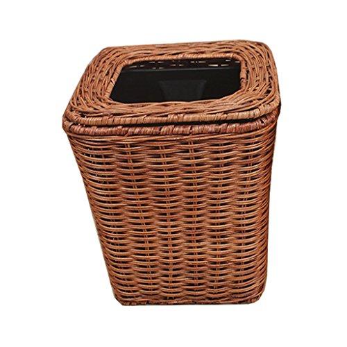 FORWIN UK- Bamboo Cane Müll Haus Ohne Abdeckung Druck Mülleimer Wohnzimmer Schlafzimmer Platz Mülleimer (Farbe : Brown, Größe : 30L) (Schlafzimmer Cane)