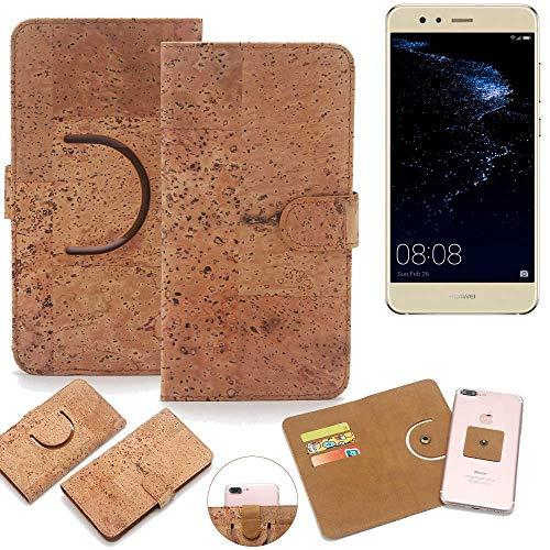 K-S-Trade Schutz Hülle für Huawei P10 lite Dual-SIM Handyhülle Kork Handy Tasche Korkhülle Handytasche Wallet Case Walletcase Schutzhülle Flip Cover Smartphone