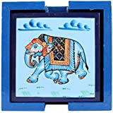 IndiCart Wooden Antique Handmade Creative Hand Painted Square Tea Coffee Coaster, Set of 6, Blue with Artistic Design Holder