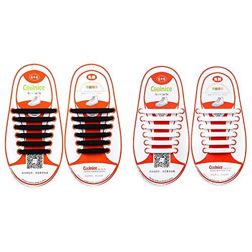 Mocent 2 Paia Lacci per scarpe elastici in silicone,che non hanno bisogno di essere annodati,per scarpe da bambini e adulti,per corsa ed esercizio,facili da lavare,disponibili in vari colori,Kids