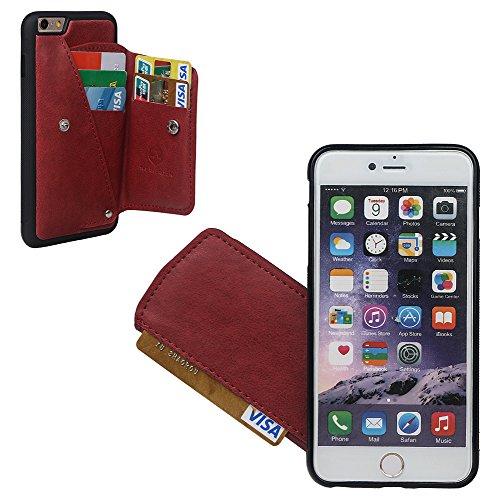 """xhorizon Behütendes Leders- Gehäuse des Geldbeutels, dauerhaftes zitternsbeständiges Gehäuse mit Kreditkarte und Schnitzsträger für iPhone 6 Plus / iPhone 6S Plus(5.5"""") mit einem 9H Ausgeglichen Glas  Rotwein + 9H Tempered Glass Film"""