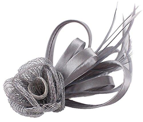 EOZY Damen Braut Kopfschmuck Haarschmuck Fascinator mit Federn Grau