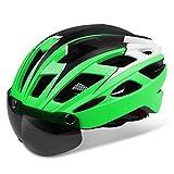 Kinglead Fahrradhelm mit Abnehmbarer magnetischer Visier Schild Brille Integral Adult Fahrradhelm (Grünes schwarzes Weiß)