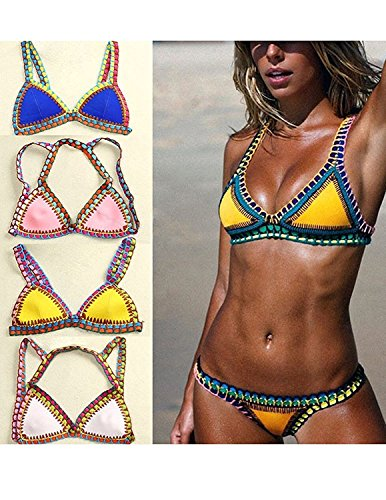 CARINACOCO Donna Bikini Coordinato Handgestrickte Crochet Neoprene Costumi da Bagno Due Pezzi Reggiseni + Slip Pantaloncini Costumi interi Beachwear Nero