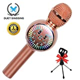 Karaoke Microphone Wireless Bluetooth Microphone for Kids Portable Handheld Home Party Karaoke Machine with LED lights Singing Recording for Android iPhone iPad Sony PC - 1PCS (Rose Gold)